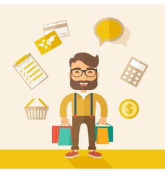 Funny businessman with shopping bags vector