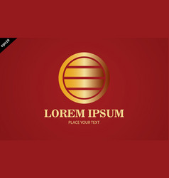 gold round stripe logo vector image