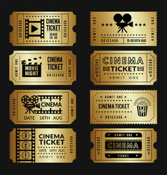 golden tickets entry cinema tickets templates vector image