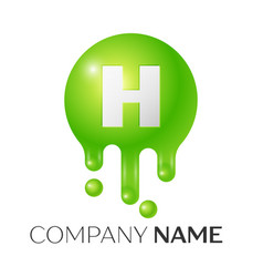 H letter splash green dots and bubbles letter vector
