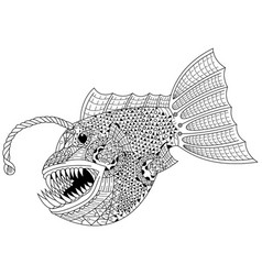 Hand drawn anglerfish in entangle style vector