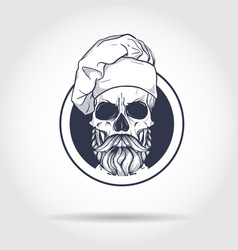 Hand drawn sketch skull withbig cooks knife vector