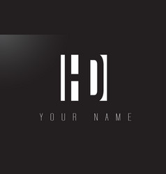Hd letter logo with black and white negative vector