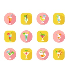 Icons of tropical cocktails vector