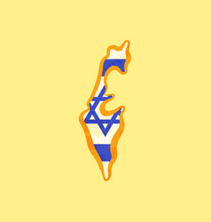 Israel - map colored with israeli flag vector