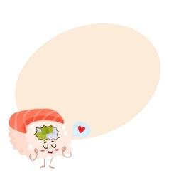 Japanese salmon tuna sushi character cartoon vector image