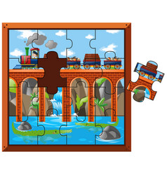 jigsaw puzzle pieces of train on bridge vector image