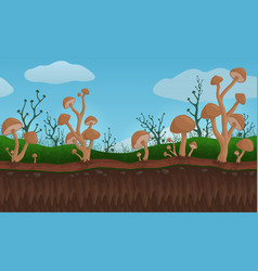 Landscape with brown mushrooms in fields vector