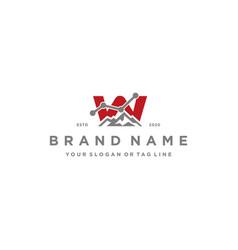 Letter w mountain finance logo design concept vector