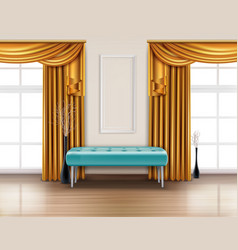 Luxury curtains realistic interior composition vector