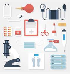 medical supplies in flat style on gray background vector image