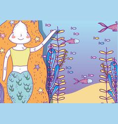 mermaid woman underwater with plants leaves vector image