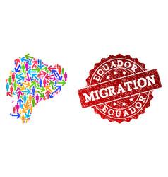 Migration composition mosaic map ecuador and vector