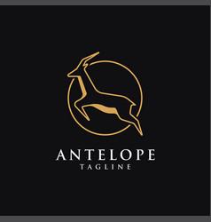 minimalist jumping antelope logo icon template vector image