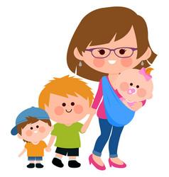 Mother walking with her children vector