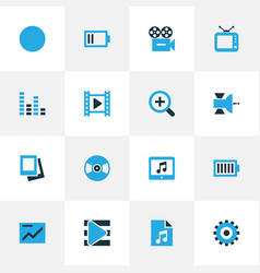 Music colorful icons set collection of movie vector