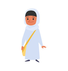 Muslim or islamic girl goes to school character vector