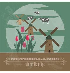 Netherlands landmarks Retro styled image vector image