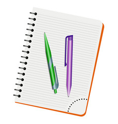 notebook green pen and purple pen vector image