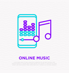 online music line icon smartphone with equalizer vector image