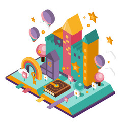 open book with set of fairy tale elements vector image