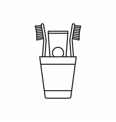 Plastic cup with brushes icon outline style vector image