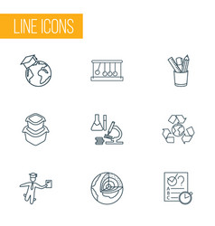 School icons line style set with global education vector