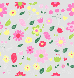 seamless floral pattern of doodled flowers vector image