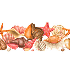 Seamless pattern with seashells tropical vector