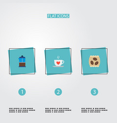 set of coffee icons flat style symbols with saucer vector image