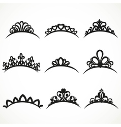 Set of silhouettes of tiaras of various shapes on vector image