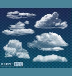 Set realistic transparent night clouds vector