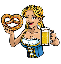 Sexy oktoberfest girl with pretzel and beer vector