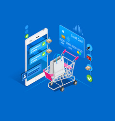 shopping cart mobile interface vector image