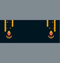 Shubh diwali diya and flower decoration banner vector