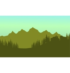 Silhouette of house in mountain vector image