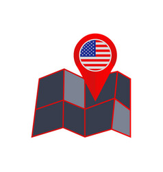 Simple united states america map pins vector