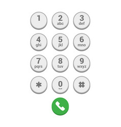 smartphone dial keypad screen on white background vector image