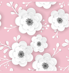 Spring floral background with 3d papercut flowers vector