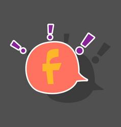 Sticker facebook logotype social network icon vector