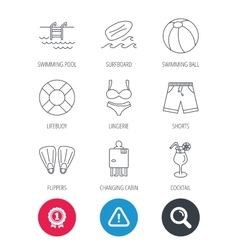 Surfboard swimming pool and trunks icons vector