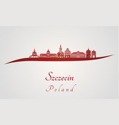 szczecin skyline in red vector image