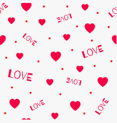 the red love seamless pattern with hearts vector image