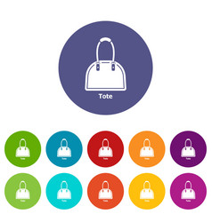 Tote bag icons set color vector