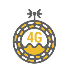 Unusual flat 4g sticker icon with geometric design vector