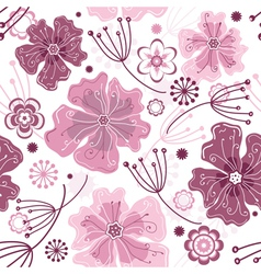 white and pink seamless floral vector image