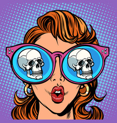 woman with sunglasses human skull in reflection vector image