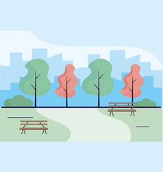 Wooden park benches craft vector