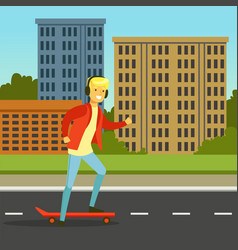 young man in headphones skateboarding on a city vector image