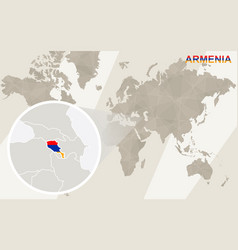 Zoom on armenia map and flag world map vector